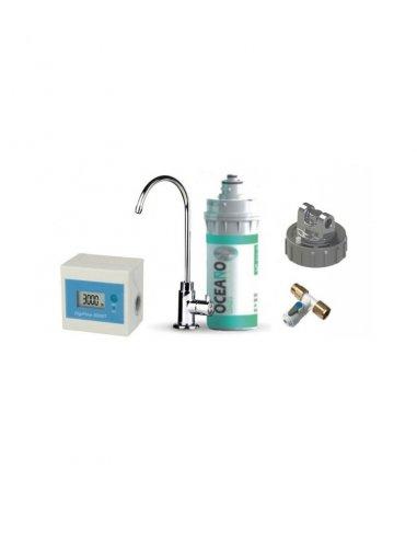 Kit per la filtrazione dell\'acqua con filtro Oceano Sintered Carbon Block 0,5 micron, rubinetto  a collo di cigno, contalitri d